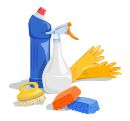 house cleaning, cleaning products. vector illustration
